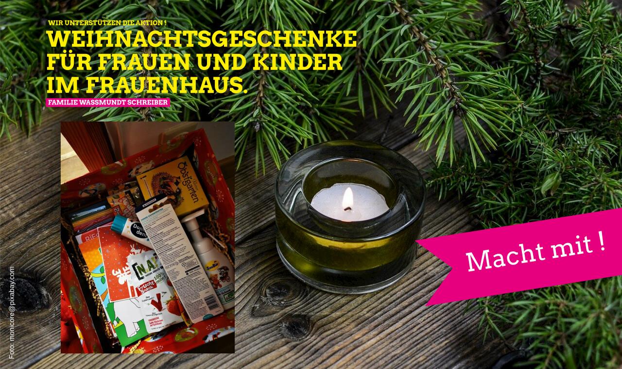 Weihnachtsgeschenke für Frauen und Kinder im Frauenhaus.
